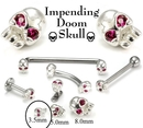 Painful Pleasures GNS160 .925 Sterling Silver Internally 1.2mm(14g) Threaded 3.5mm SKULL with RED Gem Eyes - Price Per 1