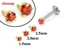 Painful Pleasures GNS173 18g-16g Internally Threaded Replacement YELLOW GOLD PRONG Lt. Red - Price Per 1