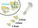 Painful Pleasures GNS174 18g-16g Internally Threaded Replacement YELLOW GOLD PRONG Lt. Blue - Price Per 1