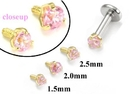 Painful Pleasures GNS175 18g-16g Internally Threaded Replacement YELLOW GOLD PRONG Pink - Price Per 1