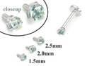 Painful Pleasures GNS180 18g-16g Internally Threaded Replacement WHITE GOLD PRONG Lt. Blue - Price Per 1