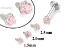 Painful Pleasures GNS181 18g-16g Internally Threaded Replacement WHITE GOLD PRONG Pink - Price Per 1