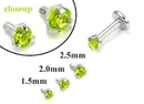 Painful Pleasures GNS183 18g-16g Internally Threaded Replacement WHITE GOLD PRONG Lt. Green - Price Per 1