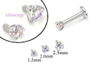 Painful Pleasures GNS184 18g-16g Internally Threaded Replacement WHITE GOLD PRONG Lavender - Price Per 1