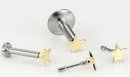 Painful Pleasures GNS186 18g, 16g, or 14g Steel Push Pop Threadless 14kt Yellow Gold Prong Flat Star - Price Per 1