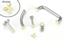 Painful Pleasures GNS190 14g Internally Threaded Replacement YELLOW GOLD FLAT STAR - Price Per 1