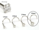 Painful Pleasures GNS199 950 PLATINUM Nose Screw 3.0mm CZ - 20g Nose Jewelry