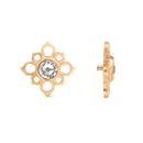 Painful Pleasures GNS246 18g-16g Internally Threaded Yellow Gold Cruciform Flower Top - Crystal Jewel Center - Price Per 1