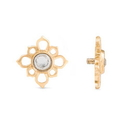 Painful Pleasures GNS252 14g-12g Internally Threaded Yellow Gold Cruciform Flower Top - Crystal Jewel Center - Price Per 1