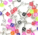 """Painful Pleasures JL007-deal10 14g 5/16"""" Labret Studs with Dice - Price Per 10"""