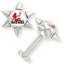 Painful Pleasures JL047 14g 6 Spike Logo Bad Girl Labret Body Jewelry