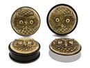 Limitless Limit-047 Brass Owl Single Flare Acrylic Plug - Price Per 1