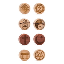 Religious Symbol Engraved Solid Wood Plug - Price Per 1