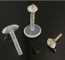 """Painful Pleasures MAKE-JL139-8mm_GNS221-2mm 16g 5/16"""" Bioplastic Labret with 14kt Yellow Gold Prong Set Gem"""