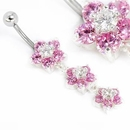"""Painful Pleasures MN0003 14g 7/16"""" Triple Flower Pink Dangle Belly Button Ring"""