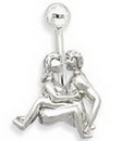 "Painful Pleasures MN0004 14g 3/8"" Naughty Navel Sitting Belly Button Ring"