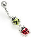 "Painful Pleasures MN0033 14g 7/16"" Lady Bugs Charm Belly Button Ring"