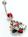 """Painful Pleasures MN0052 14g 7/16"""" Flaming Red Lucky 7 Dice Belly Button Ring"""