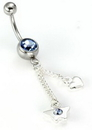"""Painful Pleasures MN0507 14g 7/16"""" Heart and Butterfly Charms Belly Button Ring"""