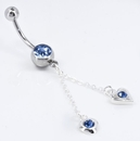"""Painful Pleasures MN0509 14g 7/16"""" Romantic Hanging Hearts Belly Button Ring"""