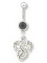 """Painful Pleasures MN0864 14g 7/16"""" Dangling Flying Dragon Belly Button Ring"""
