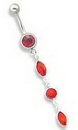 """Painful Pleasures MN0880 14g 7/16"""" Jewel with 3 Glass Charm Dangle Belly Button Ring"""