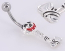 """Painful Pleasures MN0891 14g 7/16"""" Evil Pumpkin with Axe Dangle Belly Button Ring"""