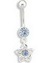 """Painful Pleasures MN0899 14g 7/16"""" Light Blue Jewel with Flower Dangle Belly Button Ring"""