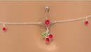 """Painful Pleasures MN0949 14g 7/16"""" Red Jewel with Cherry Dangle Belly Button Ring with Red Jewel Belly Chain"""