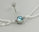 """Painful Pleasures MN0952 14g 7/16"""" Aqua Jewel Belly Button Ring with Dangles Belly Chain"""