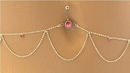 """Painful Pleasures MN0953 14g 7/16"""" Pink Jewel Belly Button Ring with Belly Chain"""