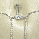 """Painful Pleasures MN0965 14g 7/16"""" Crystal Jewel with Simple Butterfly Dangle Belly Button Ring with Belly Chain"""