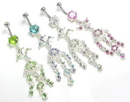 """Painful Pleasures MN0983 14g 7/16"""" Palm Tree Jeweled Dangle Belly Button Ring"""