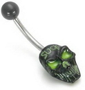 "Painful Pleasures MN1031 14g 7/16"" Glow Eyes Black SUCK Skull Face Belly Button Jewelry"