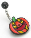 """Painful Pleasures MN1032 14g 7/16"""" PUMPKIN Face Belly Button Jewelry"""