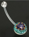 Painful Pleasures MN1078 Purple Heart on an encrusted Circular Stone Set Ball 14g Flexible BioPlast Crystal Explosion Belly Navel Rings