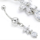 """Painful Pleasures MN1130 14g 7/16"""" Crystal Gem Navel with Flower and Circle Gems Belly Ring"""