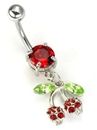 "Painful Pleasures MN1166 14g 7/16"" ROCKING CHERRIES Skull Dangle Belly Button Jewelry"