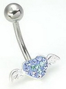 "Painful Pleasures MN1193 14g 7/16"" Crystal Explosion Valentines Heart Belly Piercing Jewelry"
