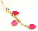 "Painful Pleasures MN1210 14g 7/16"" GOLD TONE Single Crystal Gem with Triple Pink Hearts Belly Button Jewelry"