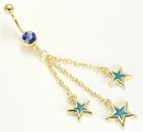 "Painful Pleasures MN1211 14g 7/16"" GOLD TONE Single Sapphire Gem with Triple Stars Belly Button Jewelry"