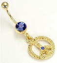 Painful Pleasures MN1223 14g 7/16'' Gold Tone Dark Blue Jewel Belly Button Ring with Peace Sign Charm