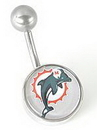 MN1318- NFL_Dolphins_N 14g 7/16'' NFL Belly Button Ring - Miami Dolphins