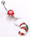 """Painful Pleasures MN1348 14g 7/16"""" Stocking Dangle Charm Belly Button Ring"""