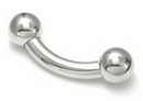 """Painful Pleasures MN1355 4g Bent Barbell Internally Threaded Stainless Steel - 5/16"""" up to 1-1/2"""""""
