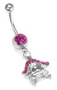 """Painful Pleasures MN1394 14g 7/16"""" Pink PIRATE SKULL n Bones Dangle Belly Button Jewelry"""