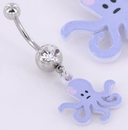 """Painful Pleasures MN1434 14g 7/16"""" PURPLE OCTOPUS Charm Belly Button Jewelry"""