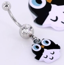 "Painful Pleasures MN1436 14g 7/16"" WHITE n BLACK OWL Belly Button Navel Jewelry"