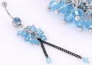 """Painful Pleasures MN1441 14g 7/16"""" Dazzling BEADS Dangle Belly Ring"""