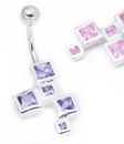 """Painful Pleasures MN1561 14g 3/8"""" Sterling Silver SQUARES Belly Piercing Jewelry"""